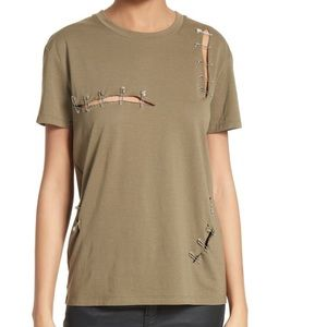 THE KOOPLES Army Green Safety Pin Tee
